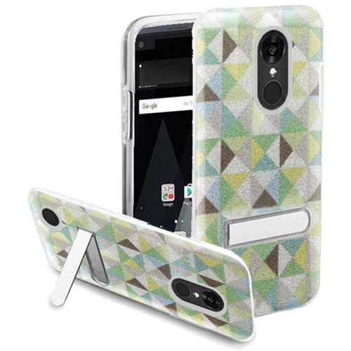 Insten Checker Hard Glitter TPU Case w/stand For LG Aristo/K8 (2017), Multi-Color