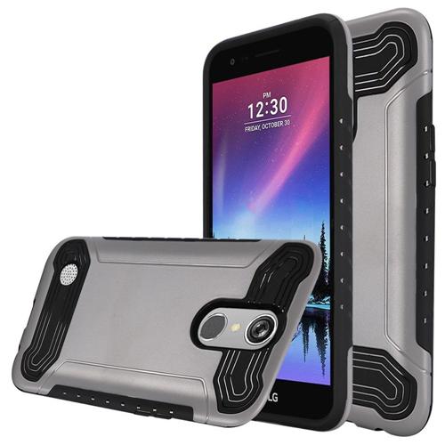 Insten Hard Hybrid TPU Cover Case For LG Grace 4G/Harmony/K20 Plus/K20 V, Silver/Black