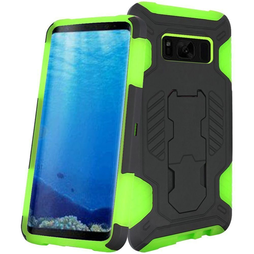 Insten SuperCoil Hard Dual Layer Plastic Cover Case w/stand For Samsung Galaxy S8, Black/Neon Green