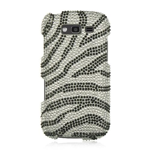 Insten Zebra Hard Diamond Case For Samsung Galaxy S Blaze 4G, Silver/Black