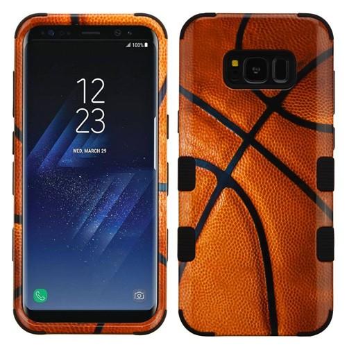 Insten Tuff Basketball Hard Hybrid Plastic TPU Case For Samsung Galaxy S8, Brown/Black