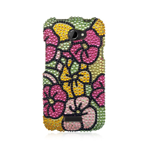 Insten Hawaii Flower Hard Rhinestone Cover Case For HTC One X, Colorful