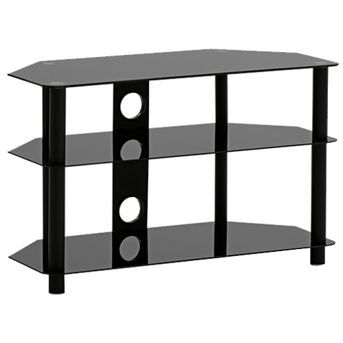 Impressions TV Audio-Video Table With 3 Shelves In Tempered Glass Black Corner Friendly