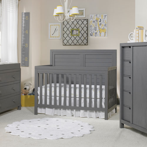 tiamo castello solid wood 4in1 convertible crib brushed wire grey