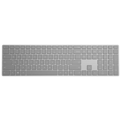 Clavier Bluetooth moderne de Microsoft avec lecteur d'empreintes digitales - Gris - Français