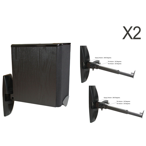 Boost Industries WS101 Universal Bookshelf/Monitor Speaker Brackets Holds 22lbs (1 Pair, Black)