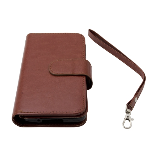 Samsung Galaxy S5 Leather Wallet Deluxe Case -Brown