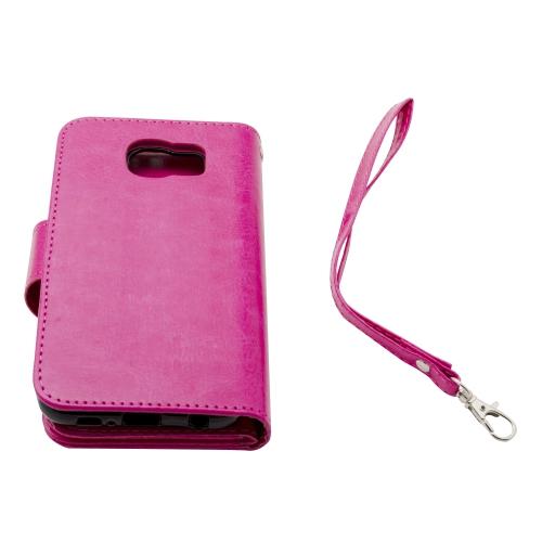 Étui portefeuille en cuir haut de gamme pour Samsung Galaxy S6 - Rose