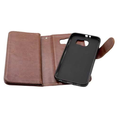 Samsung Galaxy S6 Leather Wallet Deluxe Case - Brown