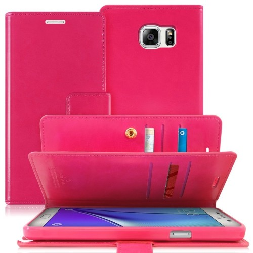 Samsung Galaxy Note 5 Deluxe Leather Flip Wallet Cover Case - Hot Pink