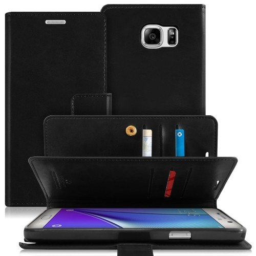 Samsung Galaxy Note 5 Deluxe Leather Flip Wallet Cover Case - Black