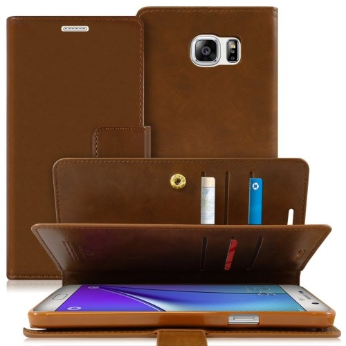 Samsung Galaxy Note 5 Deluxe Leather Flip Wallet Cover Case - Brown