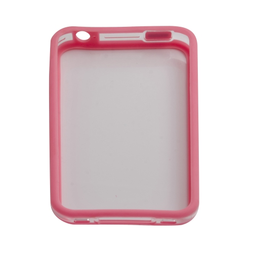 TPU Transparent Bumper Frame Silicone Skin Case Cover for iPhone 4 / 4S - Pink