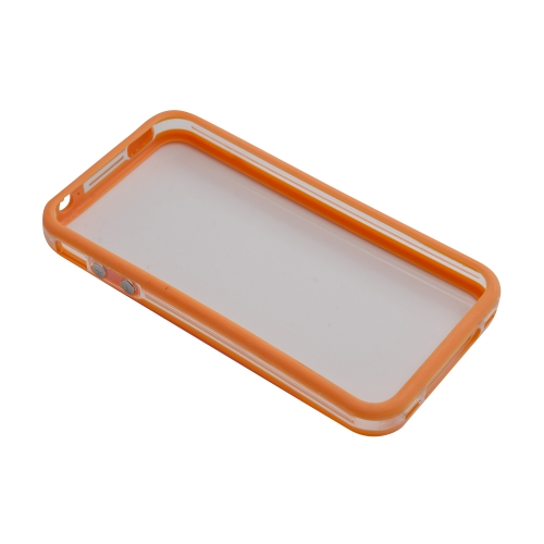 TPU Transparent Bumper Frame Silicone Skin Case Cover for iPhone 4 / 4S - Orange