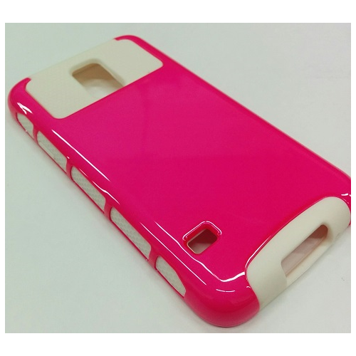 Samsung Galaxy S5 Dual Layer Hybrid Case - Hot Pink/White