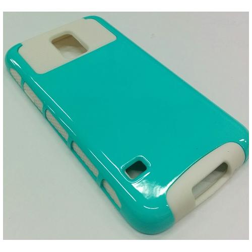Samsung Galaxy S5 Dual Layer Hybrid Case - Teal/White