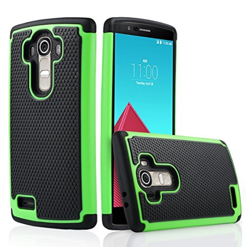 LG G4 Dual Layer Hybrid Armor Protective Case Cover - Lime Green