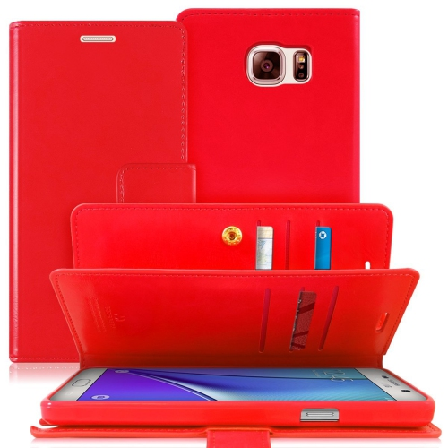 Samsung Galaxy Note 5 Deluxe Leather Flip Wallet Cover Case - Red
