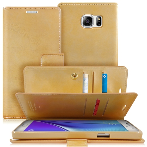 Samsung Galaxy Note 5 Deluxe Leather Flip Wallet Cover Case - Gold