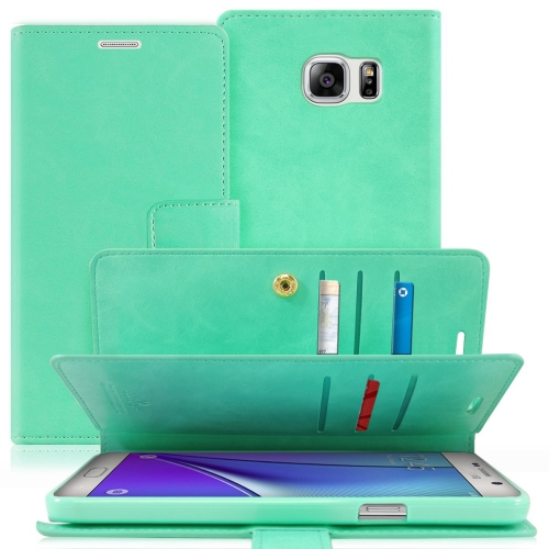 Samsung Galaxy Note 5 Deluxe PU Leather Flip Wallet Cover Case - Mint Green