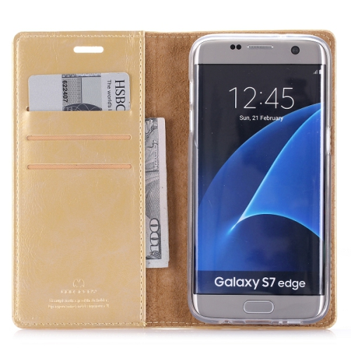 Samsung Galaxy S7 Edge Deluxe Wallet Style Case - Gold