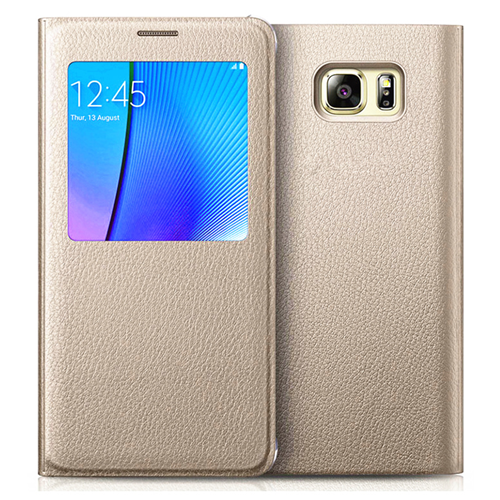 Samsung Galaxy S7 Edge Leather Flip cover Case - Gold