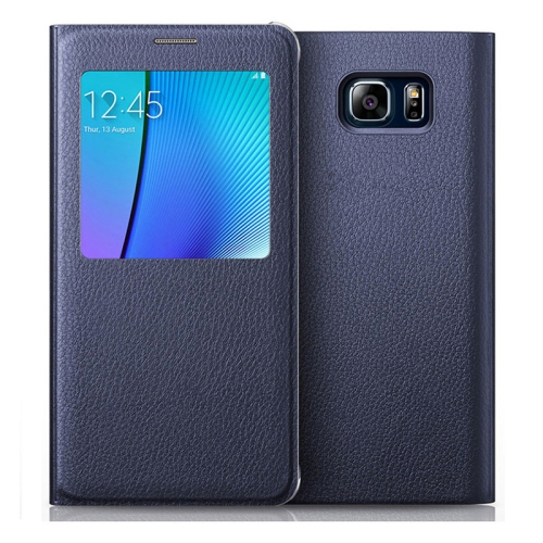Samsung Galaxy S7 Edge PU Leather Flip cover Case - Navy Blue