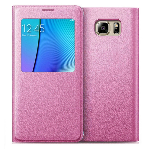 Esource Parts Flip Cover Case for Samsung Galaxy S7 Edge - Pink