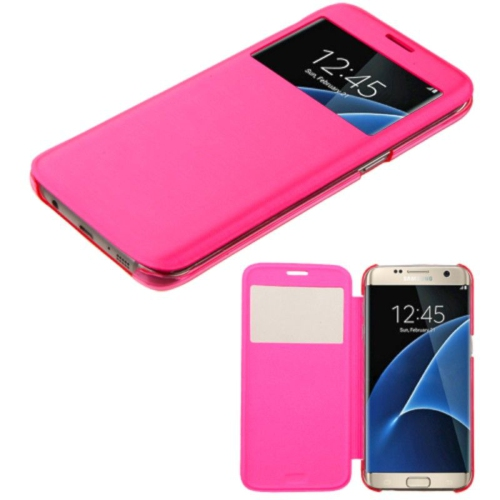 Samsung Galaxy S7 Edge Leather Flip cover Case - Hot Pink