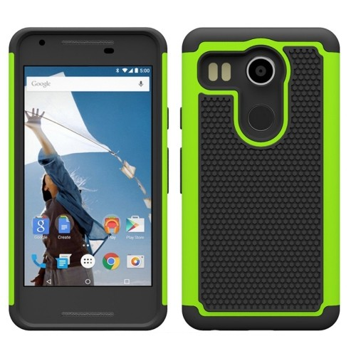 LG Nexus 5X Hybrid Shock Proof Rugged Case - Lime Green