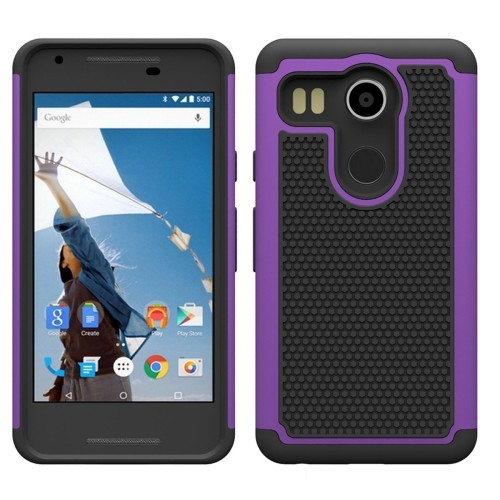 LG Nexus 5X Hybrid Shock Proof Rugged Case - Purple