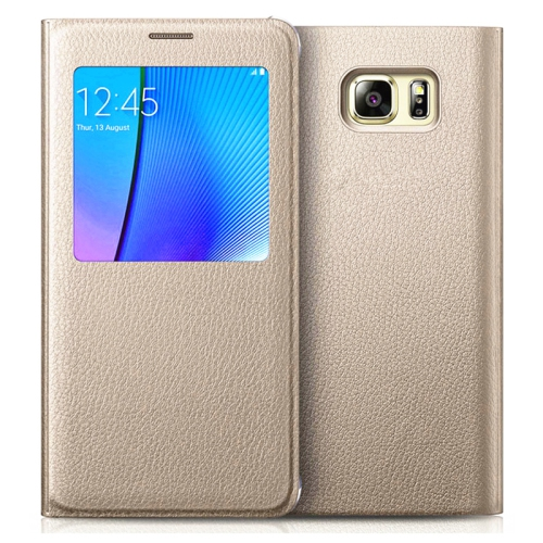 Samsung Galaxy S7 Leather Flip cover Case - Gold
