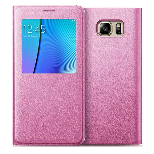 Samsung Galaxy S7 Leather Flip cover Case - Pink