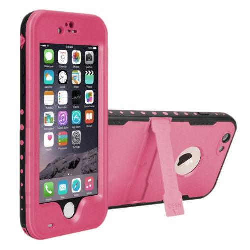 Coque antichoc imperméable résistante avec support pour iPhone 6 et 6S - Rose