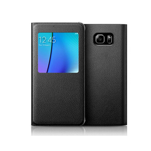 Samsung Galaxy Note 5 Leather Flip cover Case - Black