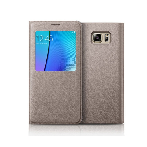 Samsung Galaxy Note 5 Leather Flip cover Case - Gold