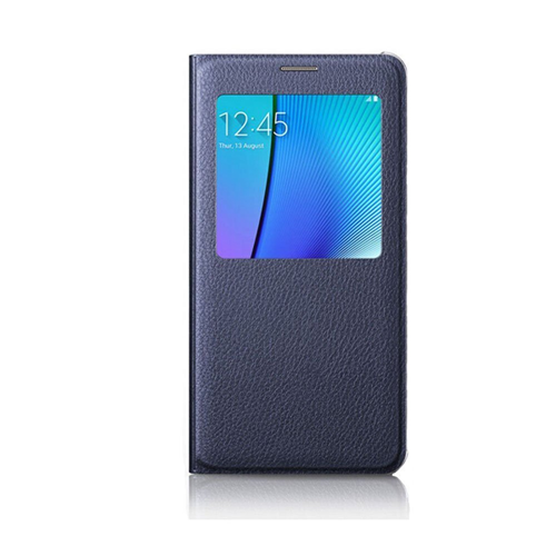 Samsung Galaxy Note 5 Leather Flip cover Case - Navy Blue