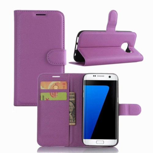 Samsung Galaxy S7 Edge Wallet Style Flip Case With Stand - Purple