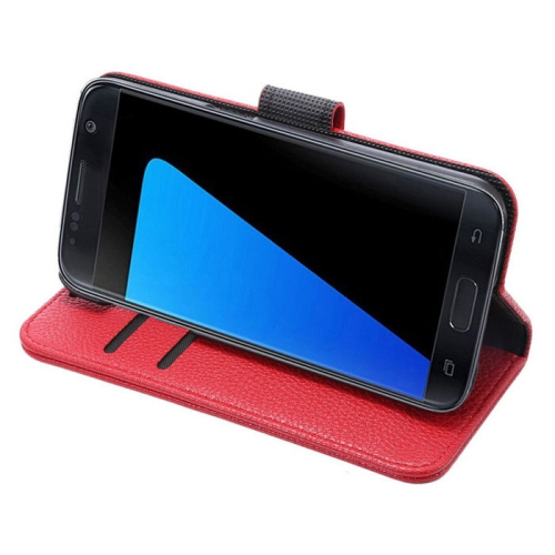Samsung Galaxy S7 Edge Wallet Style Flip Case With Stand - Red