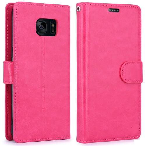 Samsung Galaxy S7 Edge Wallet Style Flip Case With Stand - Hot Pink