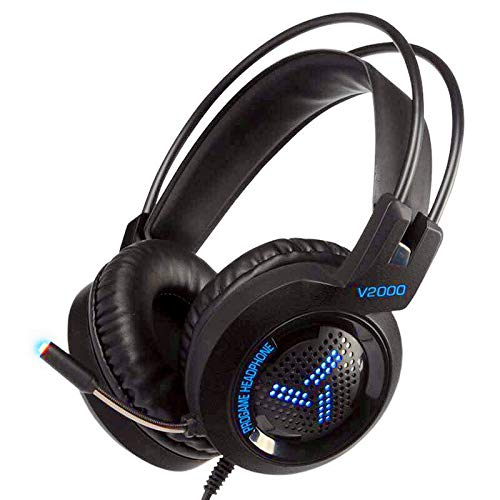 Black 3.5mm Stereo LED Lighting Over-Ear Gaming Headphone Headset Headband with Mic for PC Computer Game