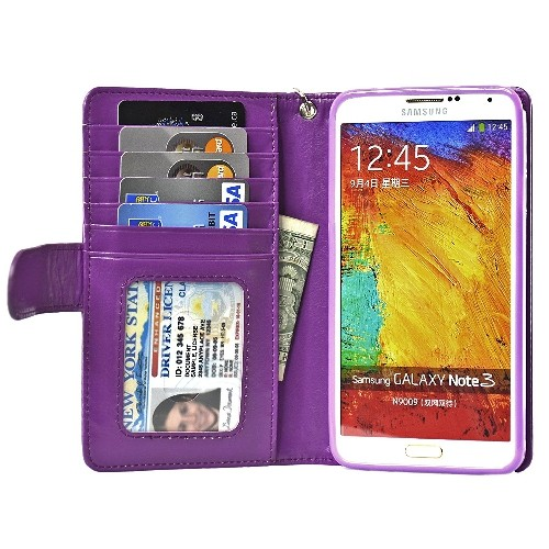 Navor Protective Flip Wallet Case for Samsung Galaxy Note 3 - Purple