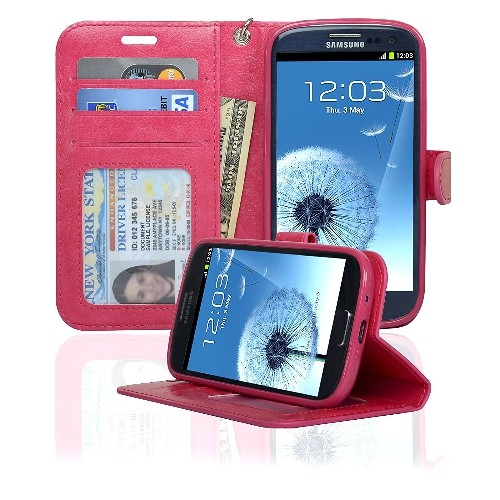 Navor Samsung Galaxy S3 Deluxe Book Style Folio Wallet Case - Hot Pink