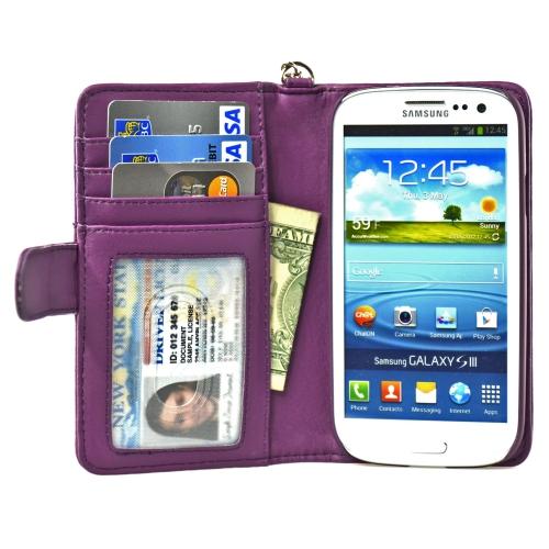 Navor Samsung Galaxy S3 Deluxe Book Style Folio Wallet Case - Purple