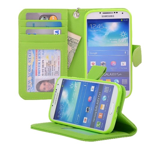 Navor Protective Flip Wallet Case for Samsung Galaxy S4 - Green