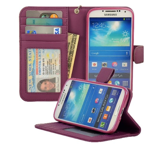 Navor Protective Flip Wallet Case for Samsung Galaxy S4 - Purple