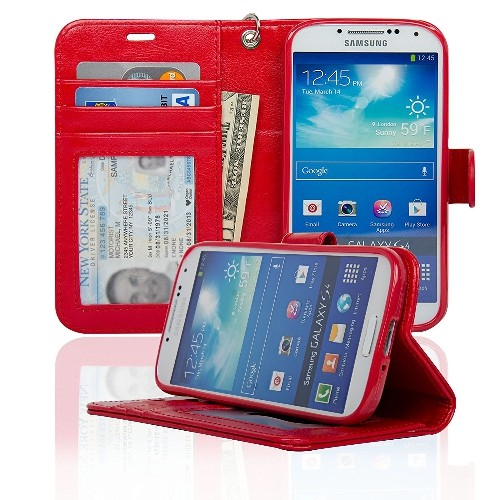 Navor Protective Flip Wallet Case for Samsung Galaxy S4 - Red