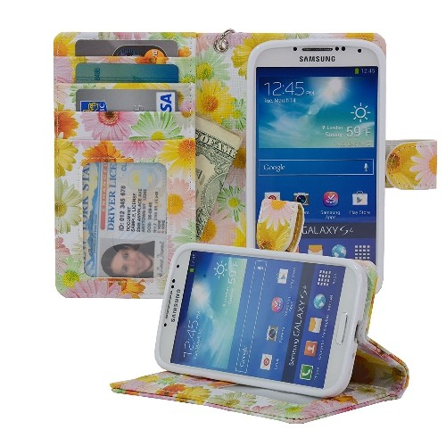 Navor Protective Flip Wallet Case for Samsung Galaxy S4 - Sunflower