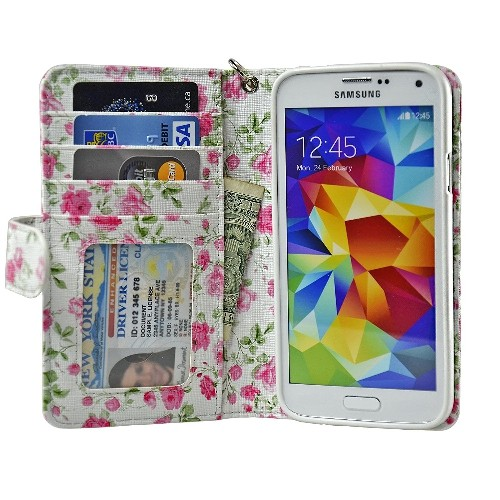 Navor Samsung Galaxy S5 / SV Book Style Folio Wallet PU Leather Case with Four Card Pockets and Money Slot - Rose