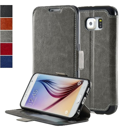 NAVOR Ultra Slim Protective Flip Wallet Case for Samsung Galaxy S6 - Gray